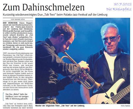 TAB TWO, Palatia Jazz 2012. Text: Köhl. Foto: Franck. Die Rheinpfalz.