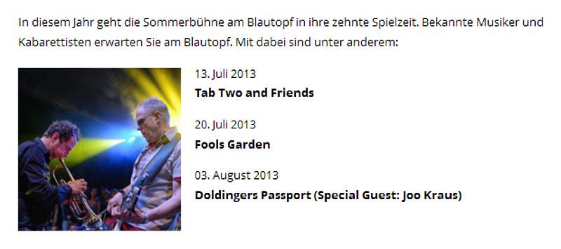 13.07.2013 TAB TWO live | www.sommerbuehneblautopf.de