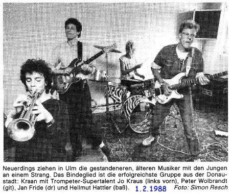 KRAAN mit Trompeter-Supertalent Joo Kraus. Foto: Simon Resch 1988.