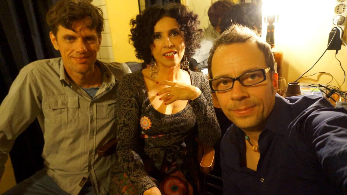 Bossarenova Trio backstage in Athens, Greece 2014.
